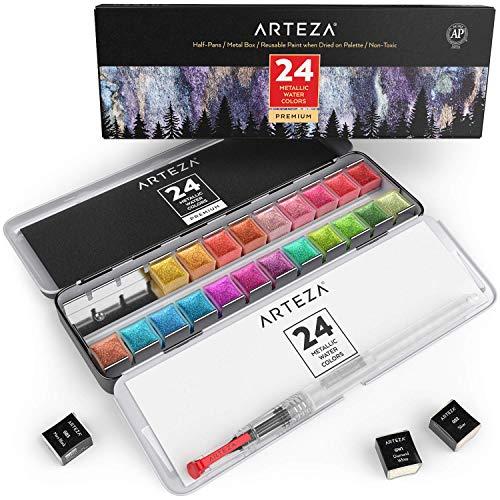Arteza Acuarelas Metalizadas, Juego De 24 Pastillas Pequeñas, Set De Acuarelas Metálicas En Colores Vivos, Incluye…