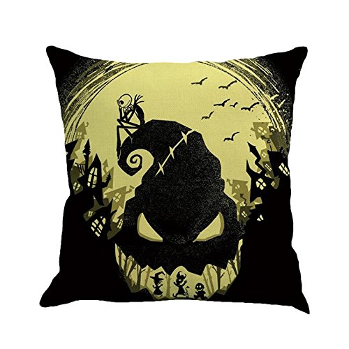 GREFER Pillow Cases Linen Sofa Cushion Cover Home Decor Happy Halloween (H) -
