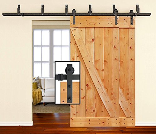 [Sale] 8 FT Heavy Duty Bypass Double Door Sliding Barn Door Hardware (Powder Coated Frosted Black) (J Shape Hangers) (2 x 8 Foot Solid Rails) Installation Video Included by Homeland Hardware