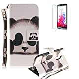 LG K10 Strap Case with Free Screen Protector,Funyye Colourful Print PU Leather Wallet Stand Full Body Protection Case Cover Skin - Panda