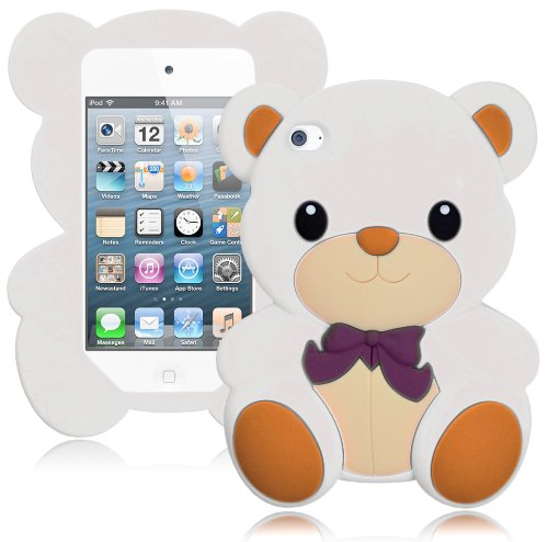 Bastex Cute 3D Silicone Teddy Bear Case for Apple iPod Touch 4, 4th Generation - White