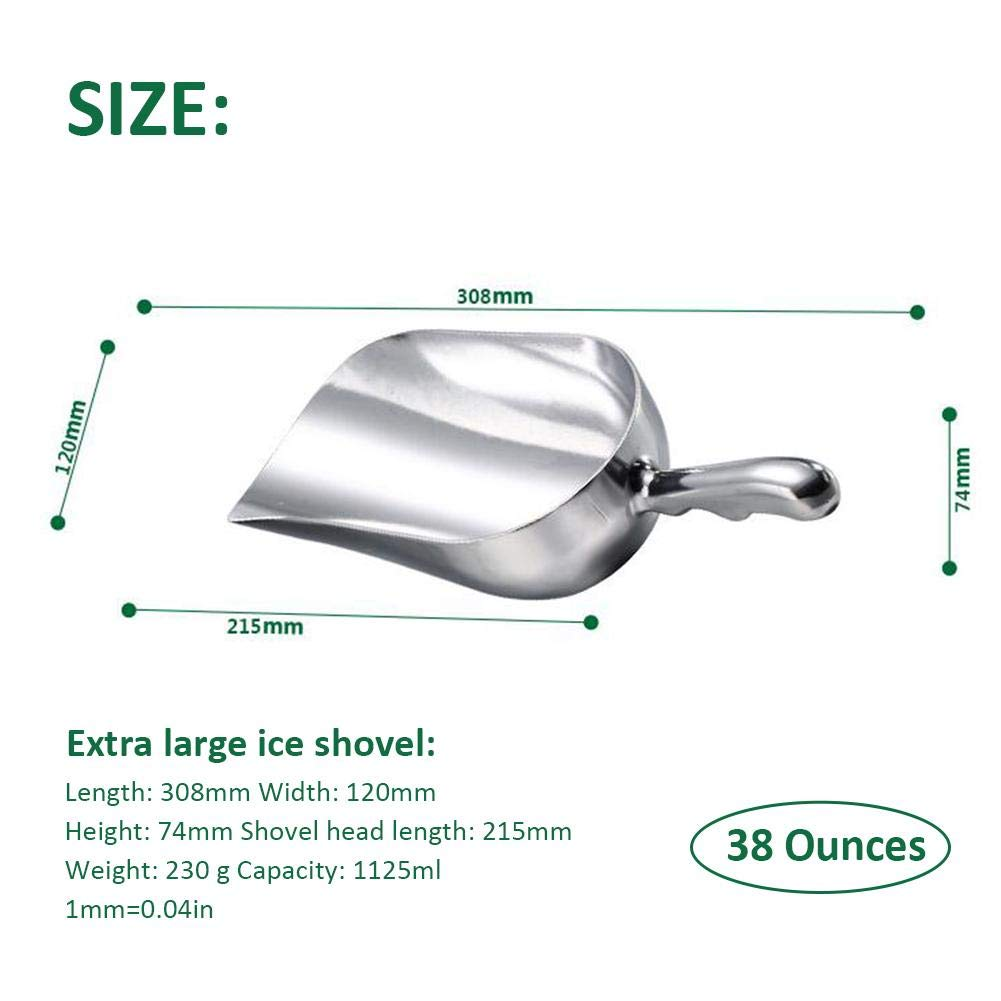 Popcorn und S/ü/ßigkeiten Mehl fervortop Eisschaufel Aluminium Eisschaufel Pulverschaufel Zuckerschaufel Teeschaufel Multifunktionssupermarkt-Stab-Nahrungsmittelschaufel f/ür EIS Zucker