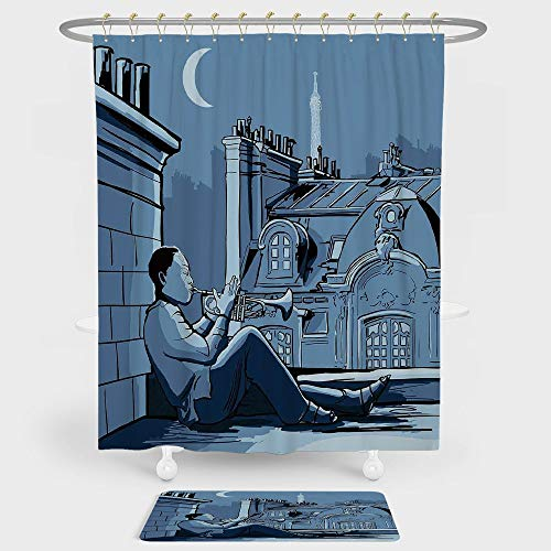 iPrint Jazz Music Decor Shower Curtain And Floor Mat Combination Set Trumpet Player on a Roof In Paris at Night Eiffel Moon Europe Illustration Decor For decoration and daily use Black Dark Blue for $<!--$43.99-->
