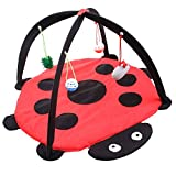 Luck Dawn Cat Activity Center with Hanging Toy Balls Favorite Cat Play Mat Cat Tent Pet Folding Hammock Tent