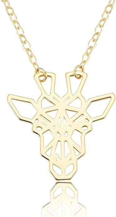 SENFAI Geometric Giraffe with Eyeglass Necklace Hollow Origami Necklace for