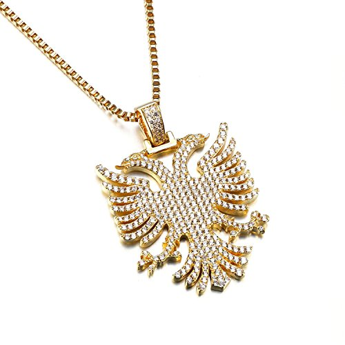 VANAXIN Double-headed Eagle Pendants Necklace For Men AAA Cubic Zircons Gold Silver Color Punk