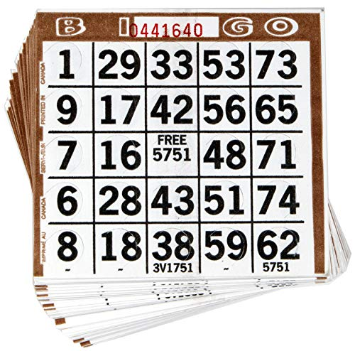 Abbott Products 1 On Punchout Bingo Cards (250ct) Push Out Bingo Cards (Brown)