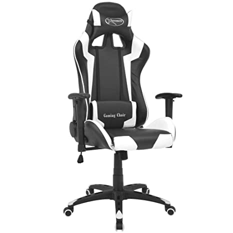 Festnight- Silla de Escritorio Silla Gaming de Oficina Reclinable Racing con Reposapiés Blanco y Negro