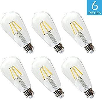 6-Pc. Edison Bulb BWL 6.5W 2700K 800 Lumens ST64 Antique Shape