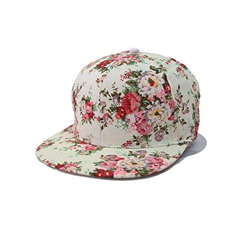 Glamorstar Women's Floral Flower Snapback Hip-Hop Cap Baseball Hat Headwear Red