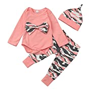 Raptop 3PCS Newborn Baby Girls Clothes Rompers+Camouflage Bow Tops Pants + Butterfly Headband Outfits Set (6-12 Months, Camouflage)