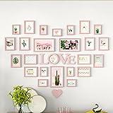 ZGP Home@Wall photo frame Living Room Heart Photo Wall Wall-mounted Frame Wall-mounted Assembly European Decoration Creative Love Bedroom Photo Frame (Color : H)