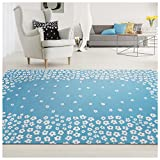 Superior 100% Cotton Area Rug, Charming Wildflower Pattern, Floral Printed Flat Weave Cotton Rug - Blue, 8' x 10' Rug