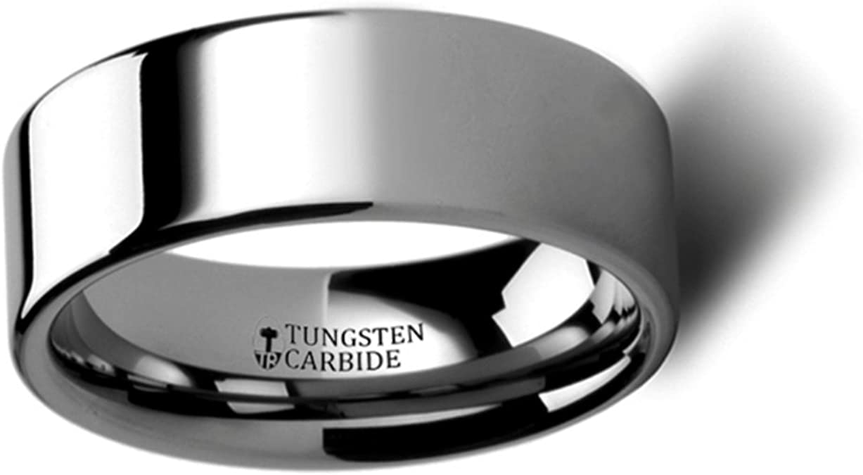 Thorsten Lincoln Beveled Edge Flat White Tungsten Carbide Ring 12mm Wide Wedding Band from Roy Rose Jewelry