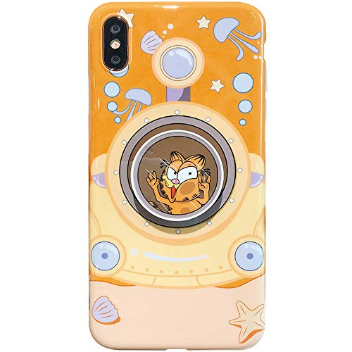 (Soft TPU Garfield Cat with Foldable Stand Finger Holder Case for iPhone Xs Max Submarine Undersea Boat Diver Cartoon Cute Fun Funny Cool Protective Shockproof Gift Girls Boys Son)