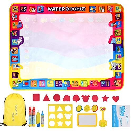 Shape Mart Aqua Magic Mat - Large Drawing Water Doodle Mat for Toddler, Mess Free Paiting Mat with Magic Pens, Educational Toys for Age 2 3 4 5 6 7 8 Years Old
