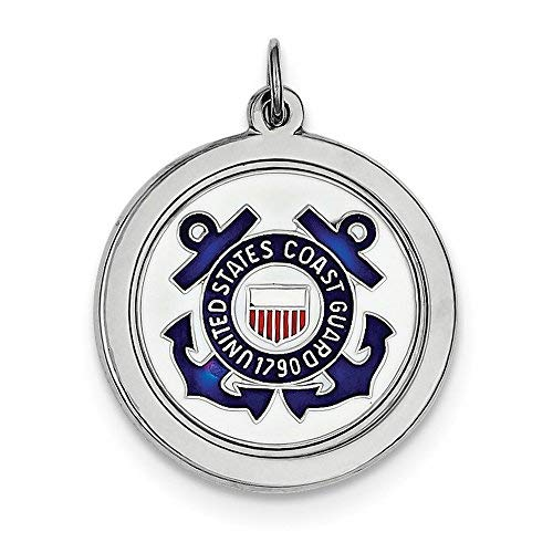 Solid .925 Sterling Silver Rhod-plated US Coast Guard - Disc Us Coast Guard