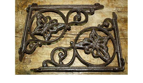 6 Cast Iron Antique Style VICTORIAN SCROLL Brackets Garden Braces Shelf Bracket