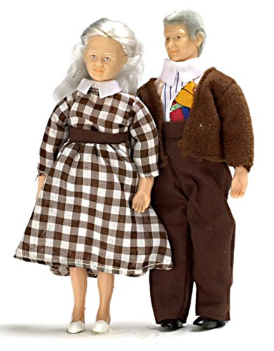 Melody Jane Dollhouse Miniature Modern People Grandma and Grandad 1:12 Grandparents from Town Square Miniatures