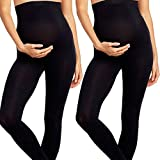 2 Pack Maternity Leggings Tights Soft Nursing Pregnancy PostPartum Over Bump (One Size Fits All - Maternity, 2 Pack Black Leggings)