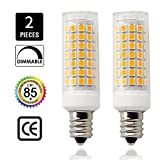 E12 led Light Bulbs AC110V 120V 130 Voltage Input,8.5Watt 850lm, Equivalent 75W 80W 100W Halogen Bulbs Replacement, Pack of 2(Warm White 2700K)