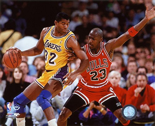 Michael Jordan & Magic Johnson 1990 Action Photo 10 x - Magic Nba Johnson