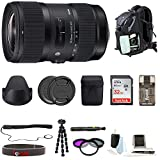 Sigma 18-35mm F1.8 Art DC HSM Lens for Canon DSLR Cameras W/ 32GB SD Card + Tripod Advanced Travel Holiday Bundle