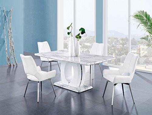 Global Furniture USA D894DT Global Furniture Faux Marble Pedestal Base Dining Table, BR