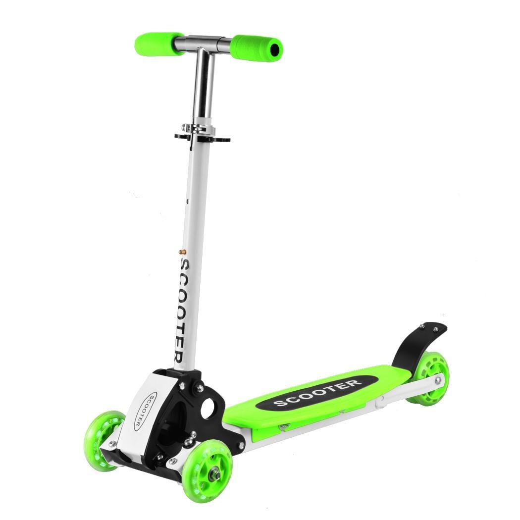 Ouyilu New Cute Kids Adjustable Folding Alloy Three Wheels Foot Scooter Boys Girls Children Kick Scooter Green(US Stock)