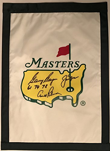 ARNOLD PALMER JACK NICKLAUS GARY PLAYER Signed MASTERS FLAG Big 3 2017 MASTERS by Inkster Sports