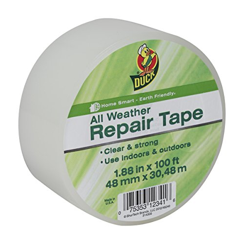 Duck Brand All Weather Indoor/Outdoor Repair Tape, Clear, 1.88-Inch x 100-Feet, Single Roll, 281230 ()