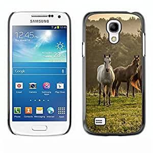 TECHCASE**Cubierta de la caja de protección la piel dura para el ** Samsung Galaxy S4 Mini i9190 MINI VERSION! ** Horses Nature Meadow Fog Mist Field Mustang
