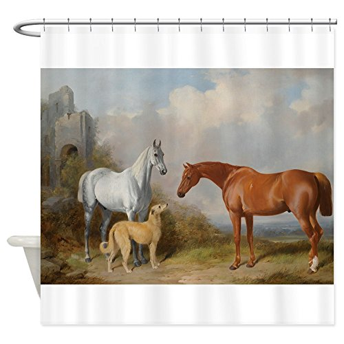 """CafePress Two Horses and a Deerhound Shower Curtain Decorative Fabric Shower Curtain (69""""x70"""")"""