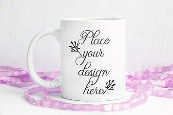 768cde26a06 Amazon.com: Coffee Mug Mockup, White mug Mockups, Blank Mug Mock up ...