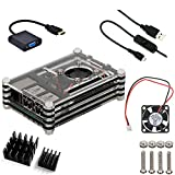 5 in 1 Professional Kit for Raspberry Pi 3 & Raspberry Pi 2 B B+, Black Sliced 9 Layers Case+ Cooling Fan +HDMI to VGA Adapter Converter+Heatsinks+ Micro USB Cable with Turn On/off Switch