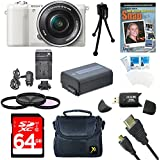 "Sony a5100 ILCE5100L/B ILCE5100L ILCE5100 ILCE5100lb 16-50mm Interchangeable Lens Camera w/ 3"" Flip Up LCD (White) Bundle w/ 64GB SD card, Spare Battery, AC/DC Charger, Micro HDMI Cable+ More"