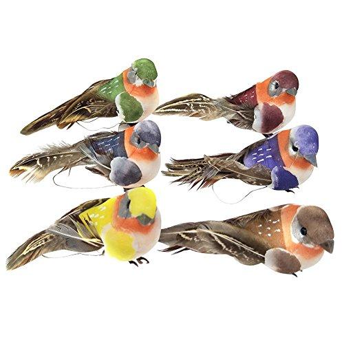 Feather Bird Ornaments - Alloet 12pcs Artificial Foam Feather Birds DIY Crafts Ornament Home Garden Decor