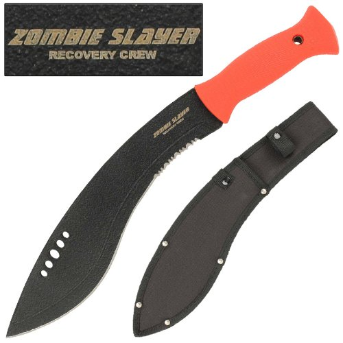 Zombie Slayer Recovery Crew Kukri Sword Knife Machete- Blood Red ()