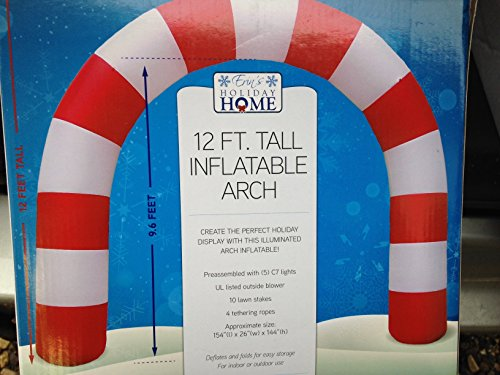 Gemmy Airblown Inflatable Candy Cane Archway with Disco Lights - Outdoor Holiday Decoration, 12-foot Tall by Erin's Holiday Home