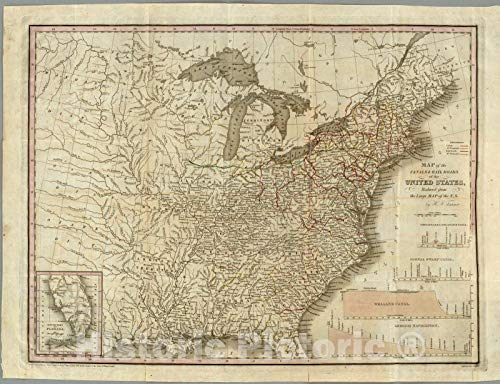 (Historic Map | Geography Book, A Connected View of The Whole Internal Navigation of the United States. 1830 | Vintage Wall Art | 44in x 34in)
