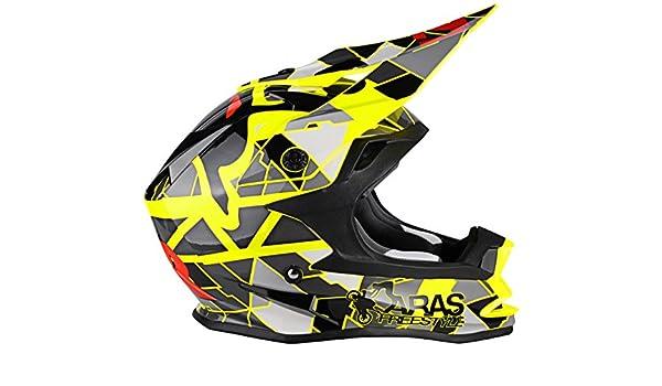 Amazon.es: Lazer MZE600030211S Or1 Aras Freestyle Replica Casco Integral Mx, Amarillo/Negro/Rojo, Talla XS