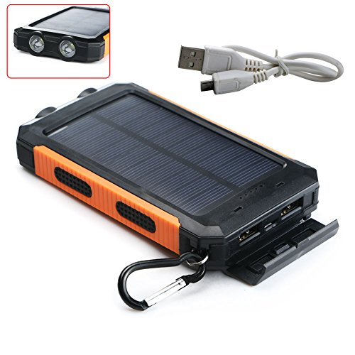Your Supermart 10000mAh Portable Solar Power Bank Solar Charger Waterproof Flashlight Mobile Power Charger USB Cable