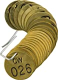 Brady 232571 1/2'' Diameter Stamped Brass Valve Tags, Numbers 026-050, Legend ''CW''  (25 per Package)