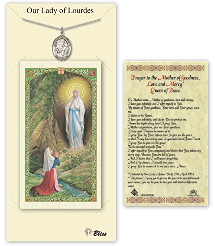 Our Lady Of Lourdes Medals - Pewter Our Lady of Lourdes Medal with Laminated Holy Prayer Card