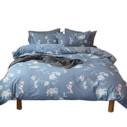 Rosa Duvet Cover - VM VOUGEMARKET Vintage Floral Duvet Cover Sets(1 Duvet Cover + 2 Pillow Shams),Blue Gray Bedding Set with Hidden Zipper-King,Rosa