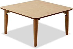 EMOOR Wooden Folding Coffee Table, Square (Small), Natural