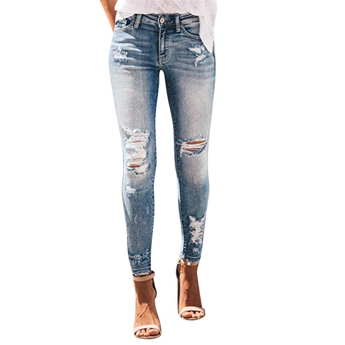 STRIR Denim Pantalones Jeans Mujer Rotos Vaqueros Push Up ...