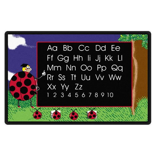 """Flagship Carpets FE137-34A Lady Bug Rug, Learning the Alphabet and Numbers with the Friendly Lady Bugs, Children's Classroom Educational Carpet, 6' x 9', 72"""" Length, 108"""" Width, Multi-Color"""