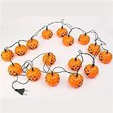 Edealing 1SET Oulifa 220V Halloween Props 16 LED citrouille cordes Guirlande lumineuse décoration d'Halloween