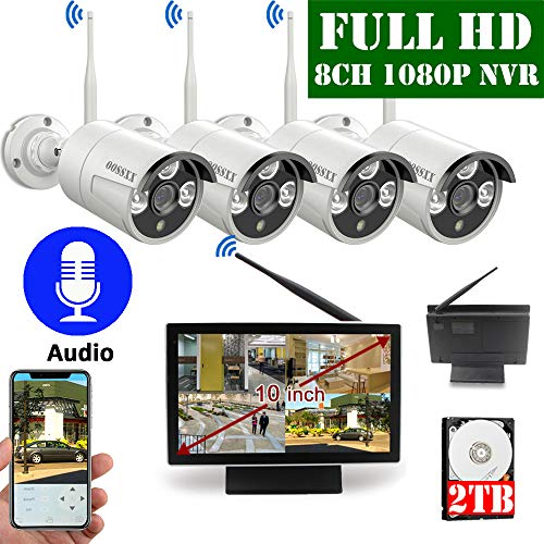 【2020 Update】 10 inch Screen HD 1080P OOSSXX 8-Channel Outdoor Wireless Security Camera System,4pcs 1080P Wireless IP67 Weatherproof IP Cameras with Audio,P2P,App, 2TB Hard Drive